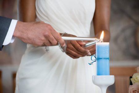 blue candle ceremony bride and groom