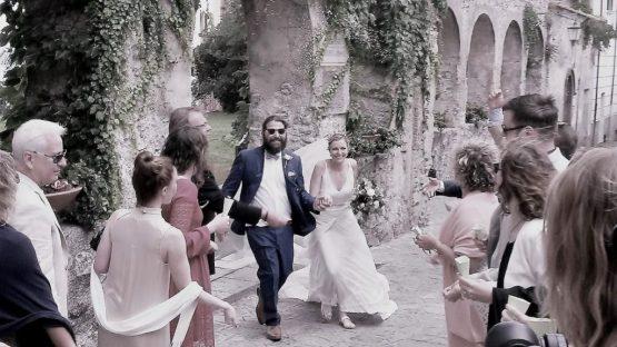 Ravello, Giardini della principessa bride and groom exit