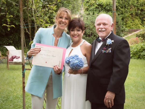 Renewal of Vows certificate, couple with celebrant in Rome