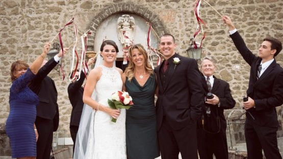 italy castle ceremony couple with celebrant deborah taliani