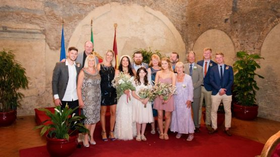 Caracalla Wedding Hall Family photos with bride and groom Rome