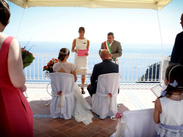 Positano wedding on terrace with celebrant and interpreter