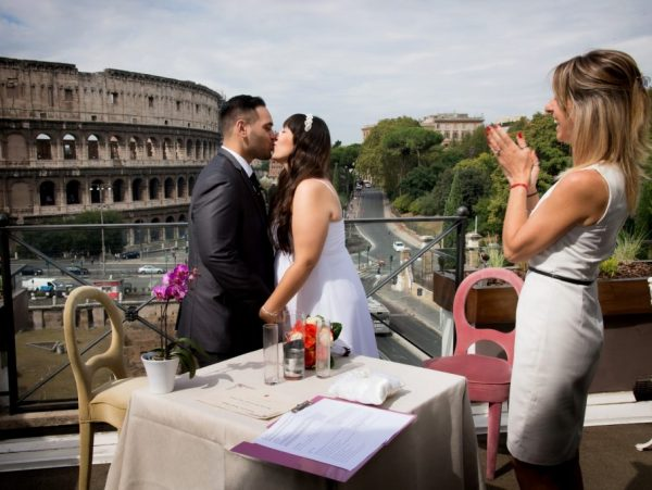 Aroma Restaurant Rome Wedding Ceremony with Colosseum backdrop