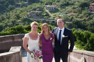 wedding celebrant deborah taliani with bride and groom, italy