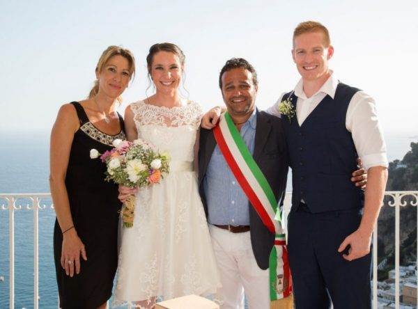 Positano Ceremony photo with celebrant, Interpreter, bride and groom