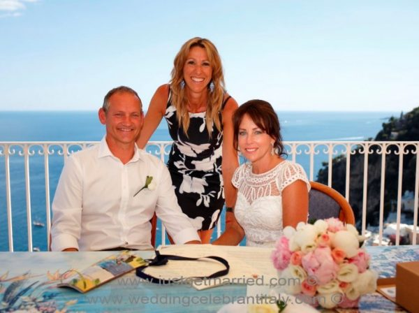 Positano Terrace wedding with couple and celebrant Italy