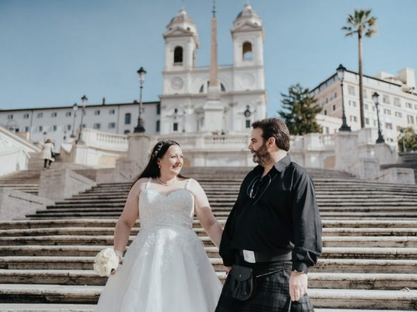 rome wedding photo at spanish steps